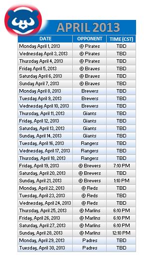 Chicago Bears 2013 Schedule