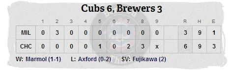 Cubs 4-9 line